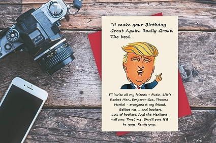 Donald Trump Make America Great Again Birthday Card Funny Cartoon Quote Bürobedarf Schreibwaren