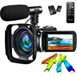 SAULEOO Video Camera Camcorder 4K 30MP Digital Camcorder Camera with Microphone Ultra HD Vlogging Camera with Remote…
