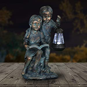 Exhart Boy & Girl Statue – Faux Bronze Statue w/Solar Garden Lights, Hand-Painted Sculpted Figure, Garden Art Decor, Weather Resistant Resin Statue, Indoor Outdoor Decorations (9 L x 7 W x 15 H)
