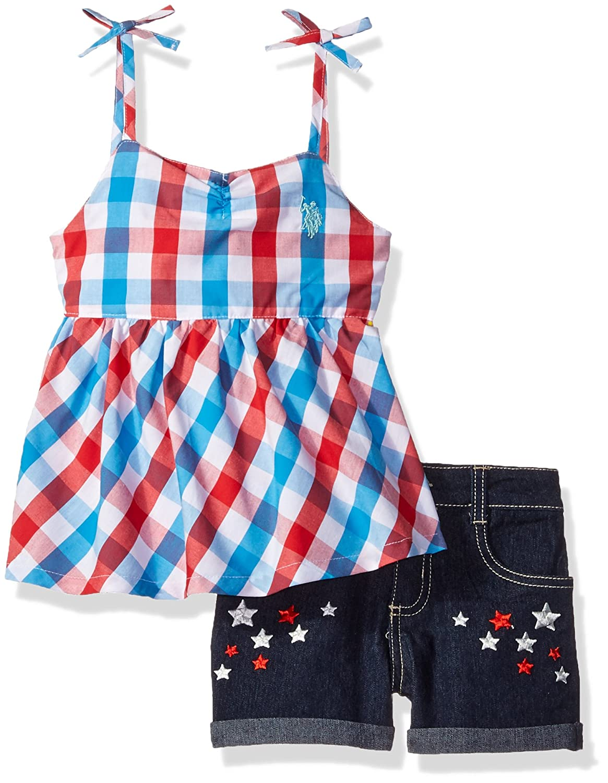 U.S. Polo Assn. Girls' Babydoll Spaghetti Strap Tank and Stretch Denim Short