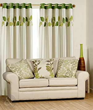 Green Curtains cream green curtains : LUXURY FAUX SILK CURTAINS Ready Made Fully Lined Ring Top Curtain ...