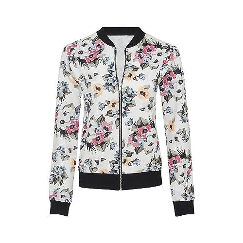 Nueva mujer Vintage recortada manga larga diseño de flores Bomber chaqueta Coat Top