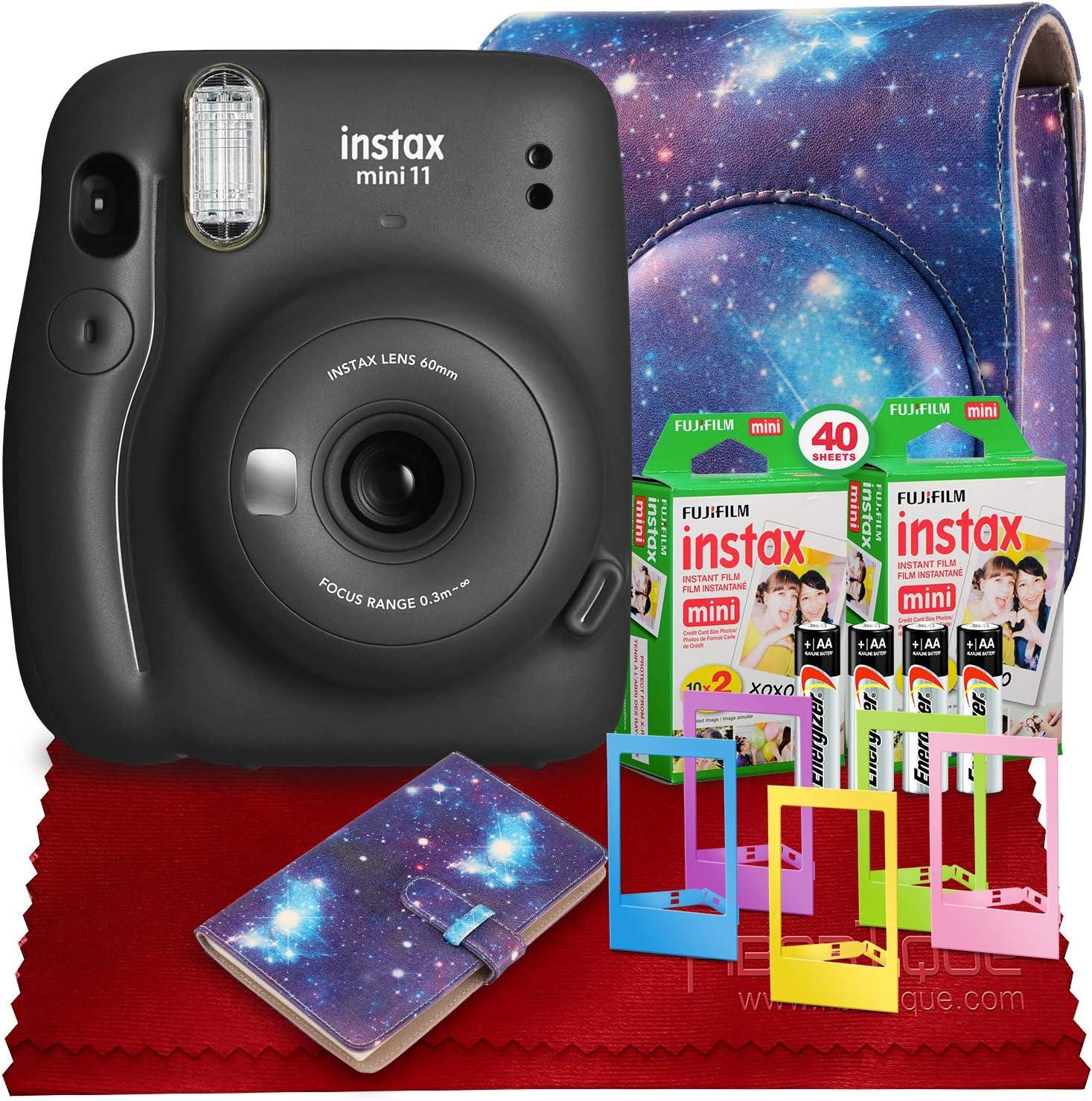 PS FUJIFILM INSTAX Mini 11 Instant Film Camera (Charcoal Gray) with Fujifilm Instax Mini Twin Film (40 Exposures), Accessory Case, and Accessories Bundle