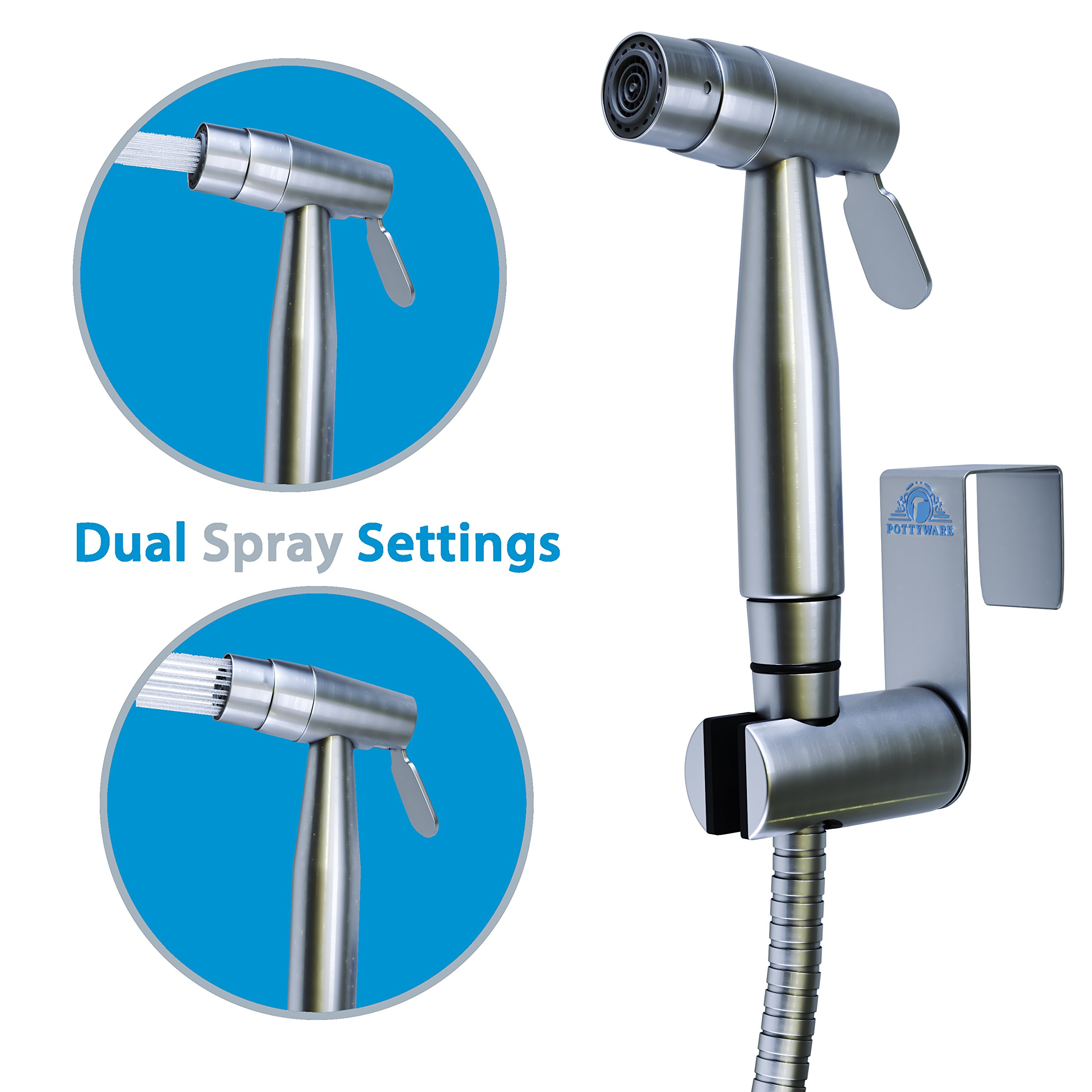 Handheld Bidet Sprayer for Toilet | 2 Spray Setting with Adjustable Pressure | Stainless Steel Hand Held Bathroom Shower Shattaf Hose for Hygienic Cleansing by Pottyware