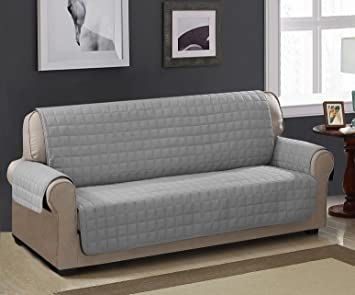 Superb Chic Home Checkers Box Quilted Quick Drape Reversible Chair And Sofa Cover 100 Waterproof Protector Sofa Furniture Cover Grey Machost Co Dining Chair Design Ideas Machostcouk