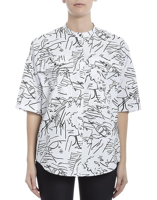 Kenzo Mujer F751ch1555k501 Blanco/Negro Algodon Camisa