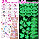 Pawliss 24 Normal & 24 Glow-in-the-dark Unicorn Bracelets Keychains Wristband, Birthday Party Favors Supplies for Kids Girls, Prizes Gifts, Rubber 48 pcs