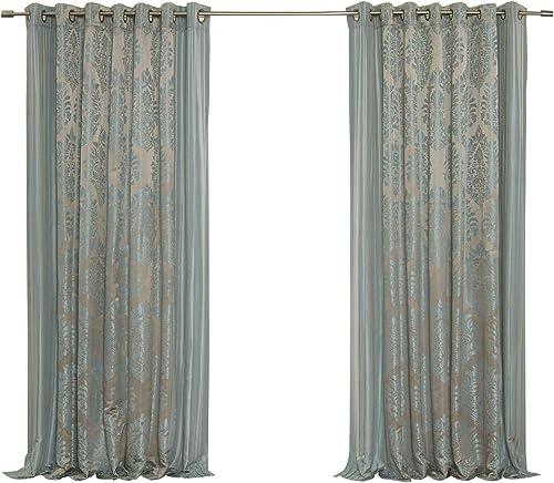 Best Home Fashion Wide Width Damask Jacquard Curtain – Antique Bronze Grommet Top – Blue – 90 W x 84 L – 1 Panel