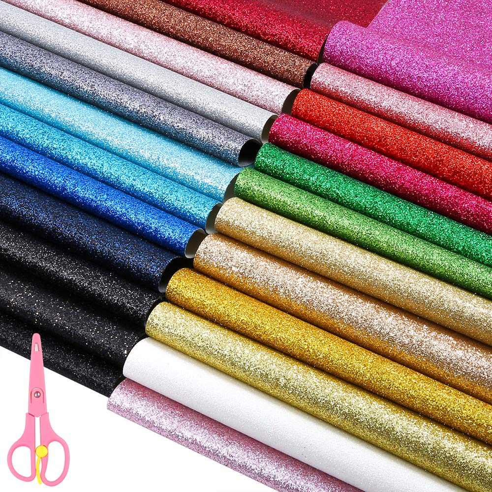 Caydo 24 Colors Shiny Superfine Glitter Fabric, PU Leather Fabric Sheet Canvas Back for Craft DIY and Christmas Decoration 12.6 x 8.6 Inch (32 x 22 cm)