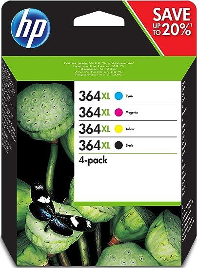 Comprar HP 364XL N9J74AE, Pack de 4, Negro, Cian, Magenta y Amarillo, Cartuchos Originales, para impresoras HP Photosmart serie C5300, C6300, B210, B110 y Deskjet serie 3520