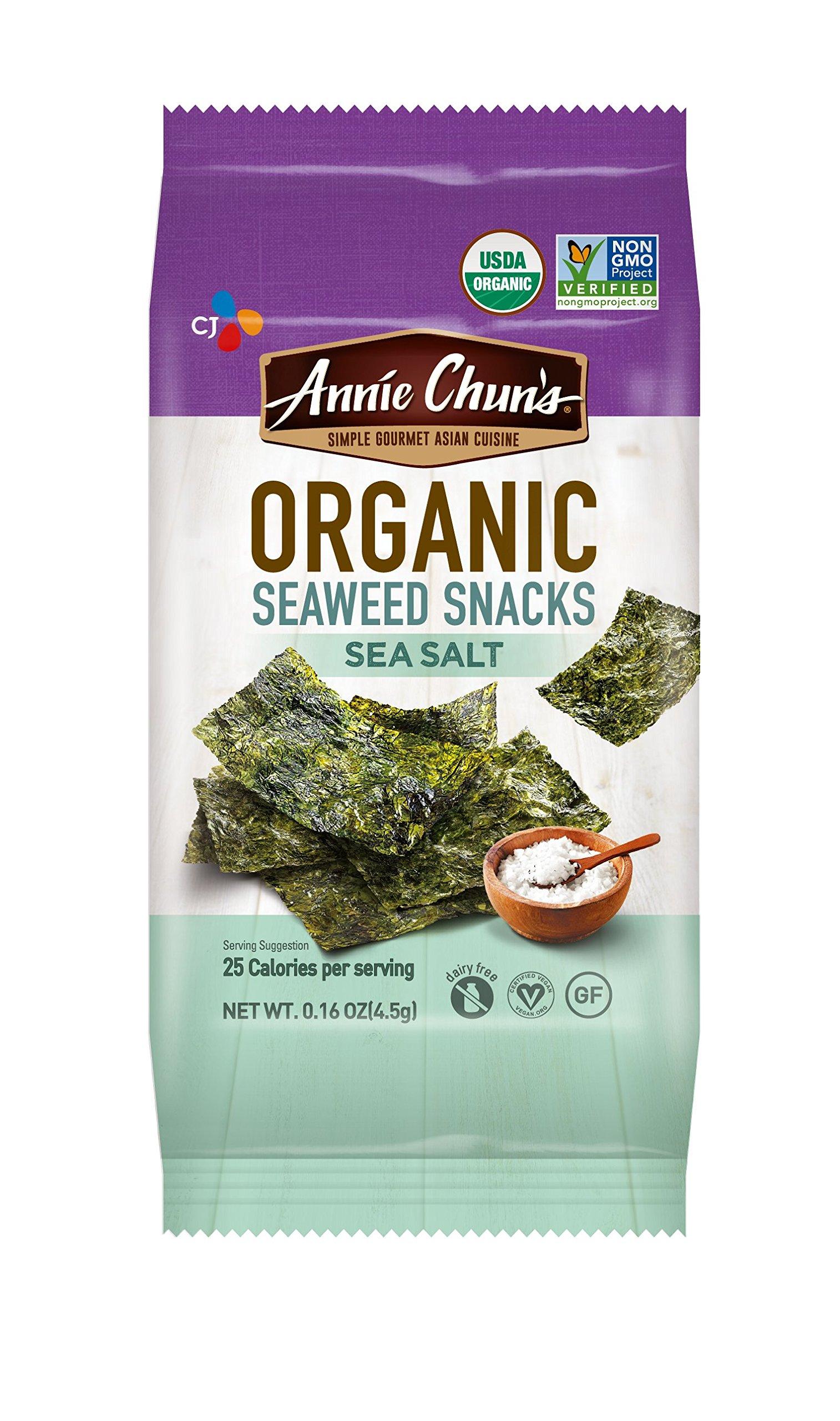 Annie Chun's Organic Seaweed Snacks, Sea Salt, 0.16-ounce (Pack of 12)