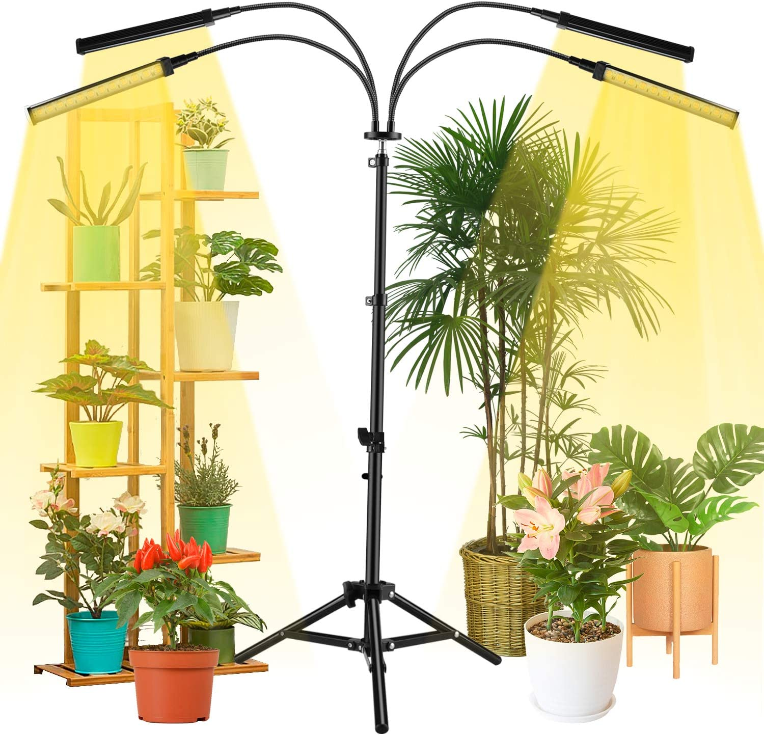 Grow Lights for Indoor Plants, NaCot LED Floor Full Spectrum Plant Light with Stand and Auto ON/Off Timer, Plant Grow Lamp for Seed Starting Plants Growth with Adjustable Gooseneck & Tripod