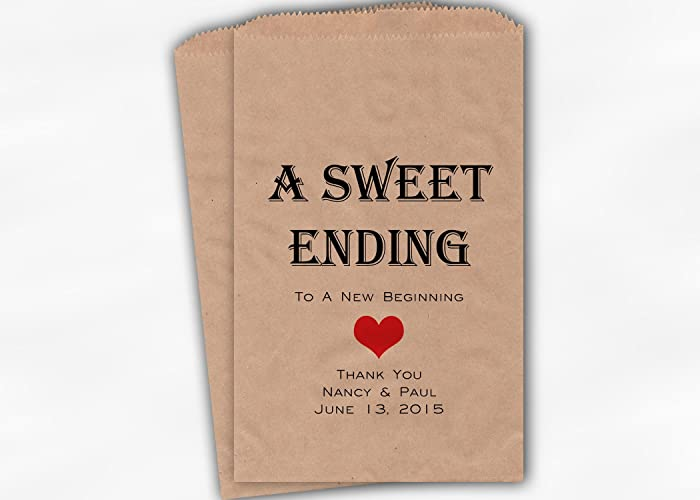 Amazon.com: A Sweet Ending to a New Beginning Wedding Favor Bags for ...