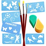 Keyp Creative Face and Body Paint Tool Kit, Includes 3 Face Paint Brushes, 2 Petal Sponges, Silver/Gold Glitter Plus 6 Stencils with 24 Designs, Princess, Pirate, Sport, Animal and Dinosaur Themes