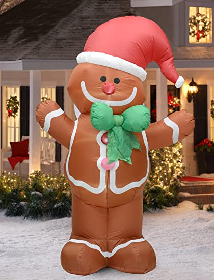 fashionlite 8 feet christmas xmas inflatable gingerbread man lighted blow up yard party decoration - Inflatable Gingerbread Man Christmas Decor