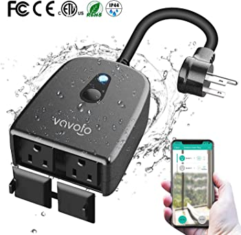 Vavofo Outdoor Smart Plug, WiFi Outlet with 2 Sockets