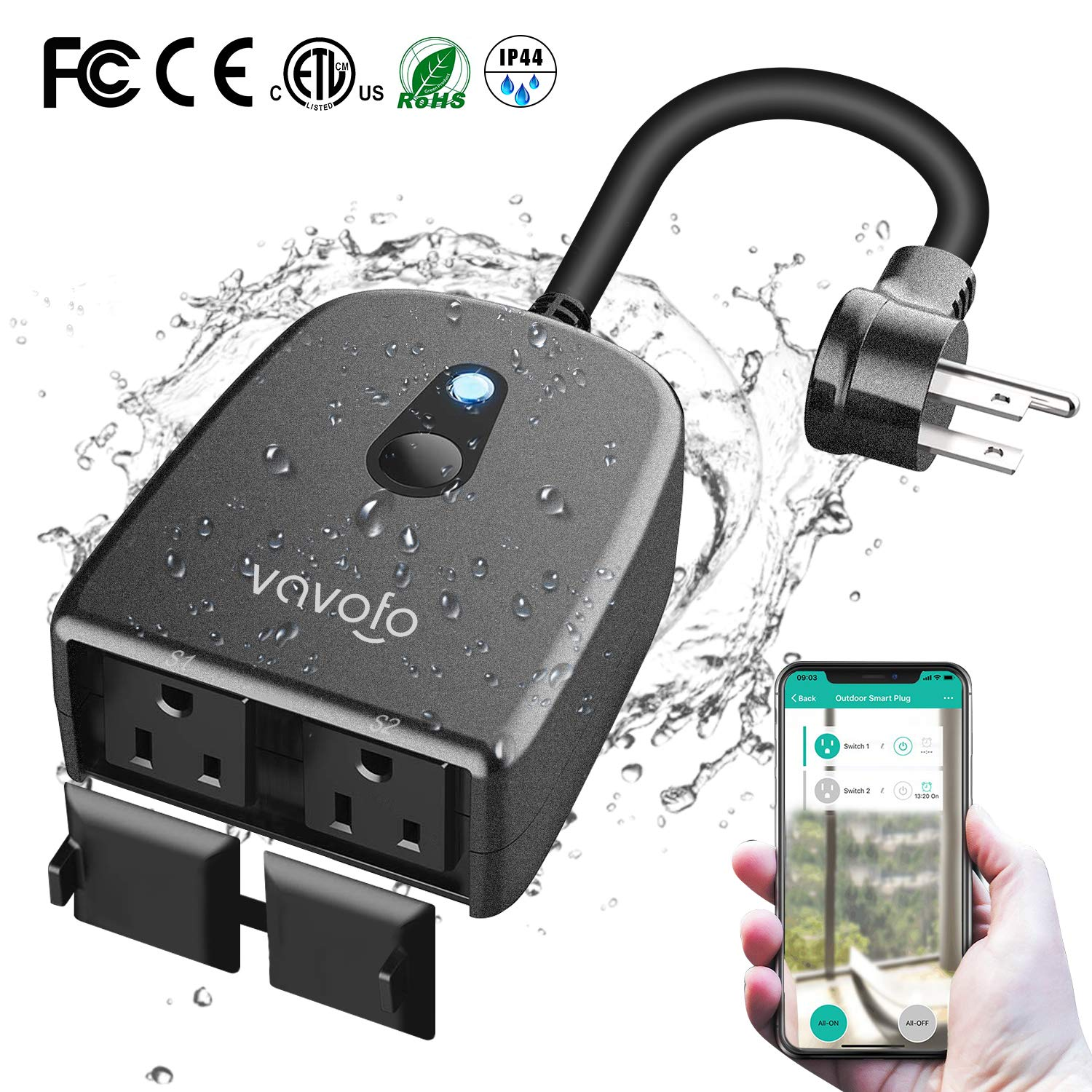 VAVOFO Outdoor Smart Plug, WiFi Outlet with 2 Sockets, Compatible with Alexa Google Home, IP44 Waterproof, Wireless Remote Control Timer & Countdown by Smartphone APP by VAVOFO