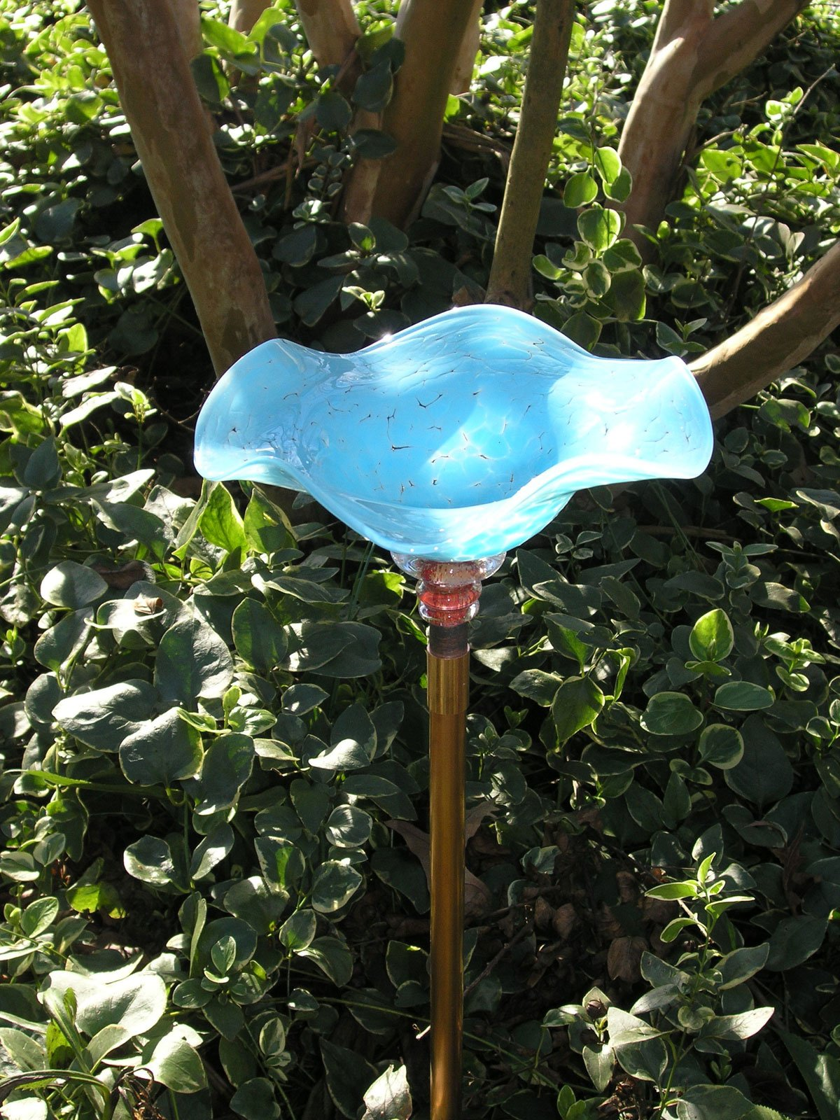 Andrew Holmberg Sky Blue Hand Blown Glass Butterfly Feeder with 30'' Copper Stake by Andrew Holmberg (Image #2)