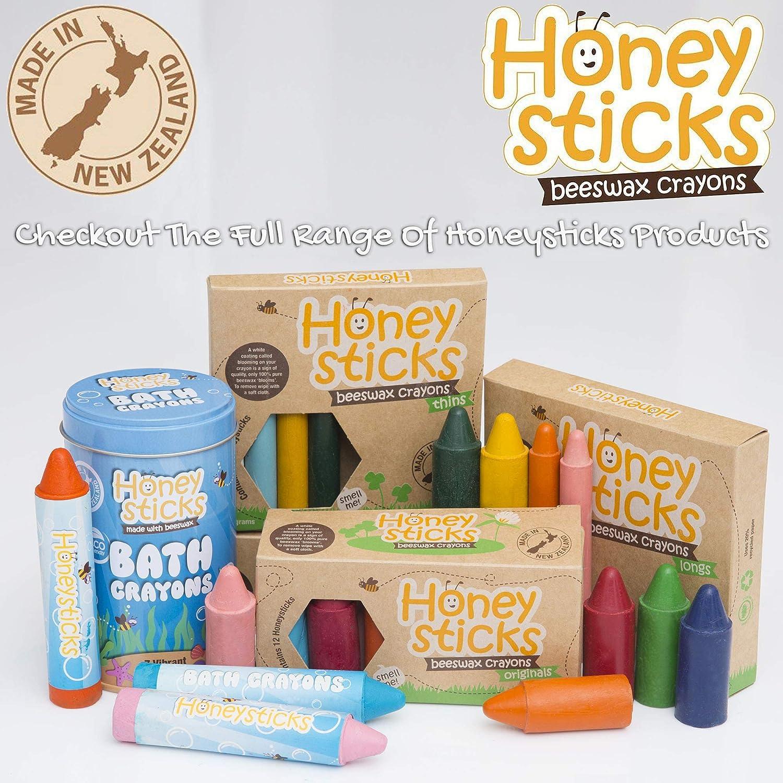 Honeysticks Ceras de Colores 100% Pura Cera de Abeja (6 unidades, Largas) Naturales, No Tóxicas, Seguras para Niños, Hechas a mano en Nueva Zelanda, ...