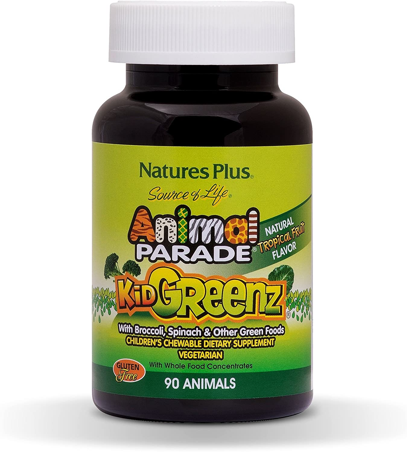 NaturesPlus Animal Parade Source of Life KidGreenz Children s Chewables 2 Pack – Natural Tropical Fruit Flavor – 90 Animal Shaped Tablets – Vegetarian, Gluten-Free – 180 Total Servings