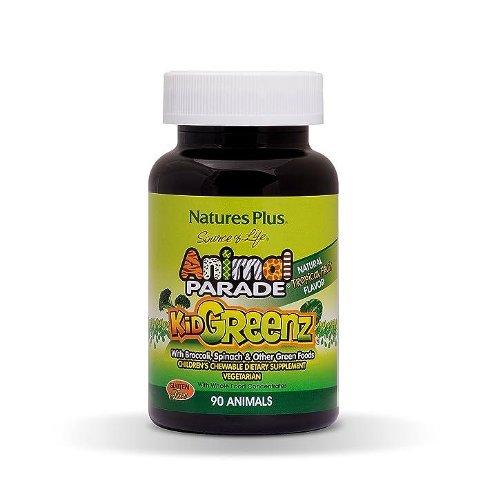 NaturesPlus Animal Parade Source of Life KidGreenz Children's Chewable - Tropical Fruit Flavor - 90 Animal Shaped Tablets - Vegetarian, Gluten-Free - 90 Servings