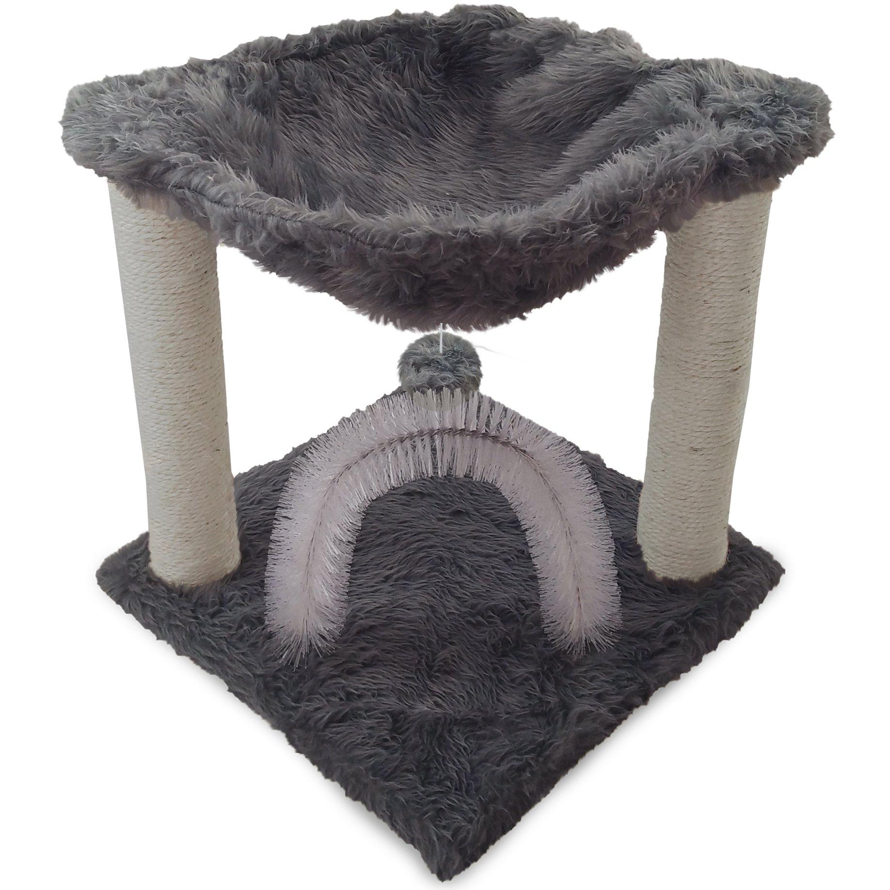 Furhaven Pet Cat Furniture | Tiger Tough Plush Cat Hammock, Silver