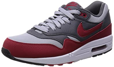 Nike Men's Air Max 1 Essential Wolf Grey/Gym Red/Dark Grey Running Shoe