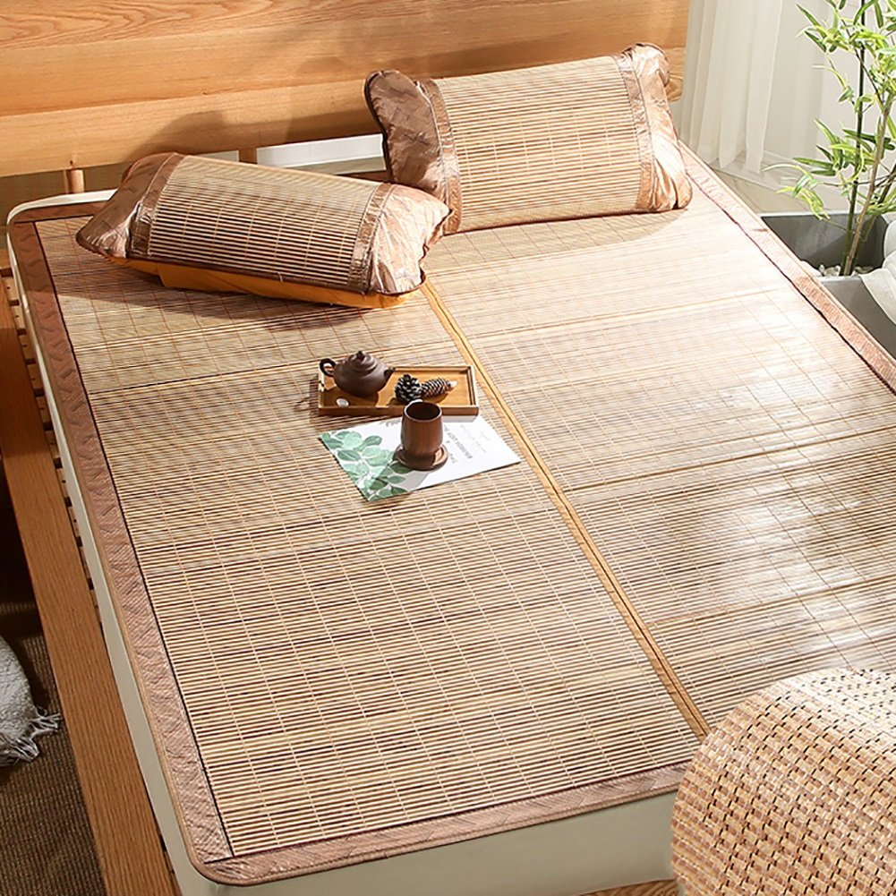 Summer sleeping mat Foldable Air-conditioned Mat 1.2m Bed Double Bamboo Mat Double-sided Rattan Mat 1.5m Ice Silk Mat 3-piece (Color : Style 2, Size : 1.2m (4 ft) bed)