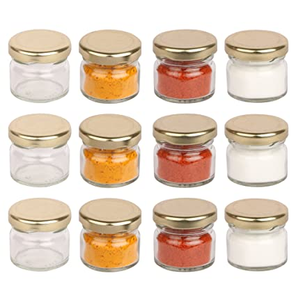 0d9541f643 Buy Pure Source India Small Glass Jar Set Of 12 Pcs With Metal Golden Color  Air Tight And Rust Proof Cap, Capacity 20 Gram Online at Low Prices in  India ...