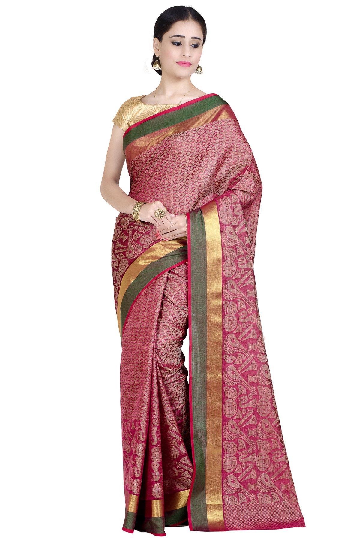 Chandrakala Women's Pink Cotton Blend Banarasi Saree(1284PIN)