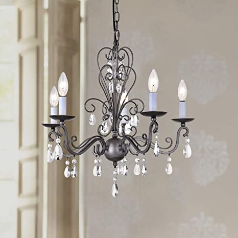 Ordinaire Wrought Iron Rustic Vintage Black Pendant Candle Chandelier Crystal  Lighting Fixture Lamp For Dining Room Bathroom