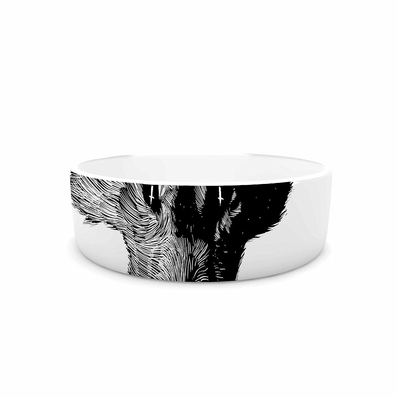 KESS InHouse Barmalisirtb Black Head Coyote Black White Digital Pet Bowl, 4.75  Diameter