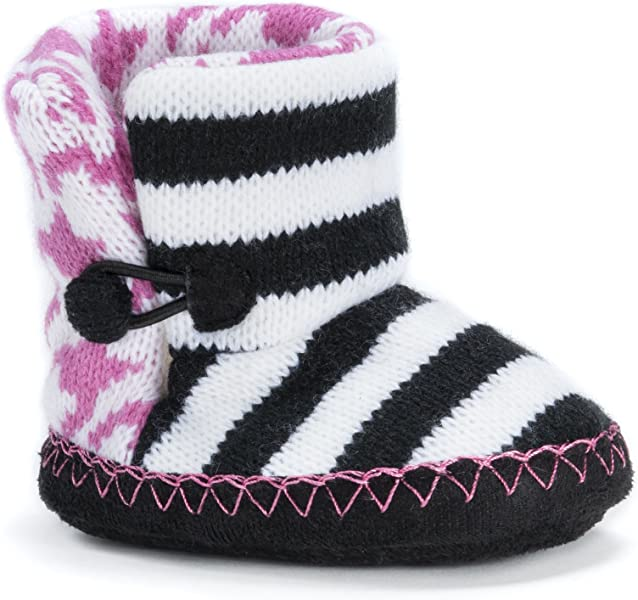 Amazon.com | MUK LUKS Houndstooth Baby Slipper Slide, Pink, 0-6 ...