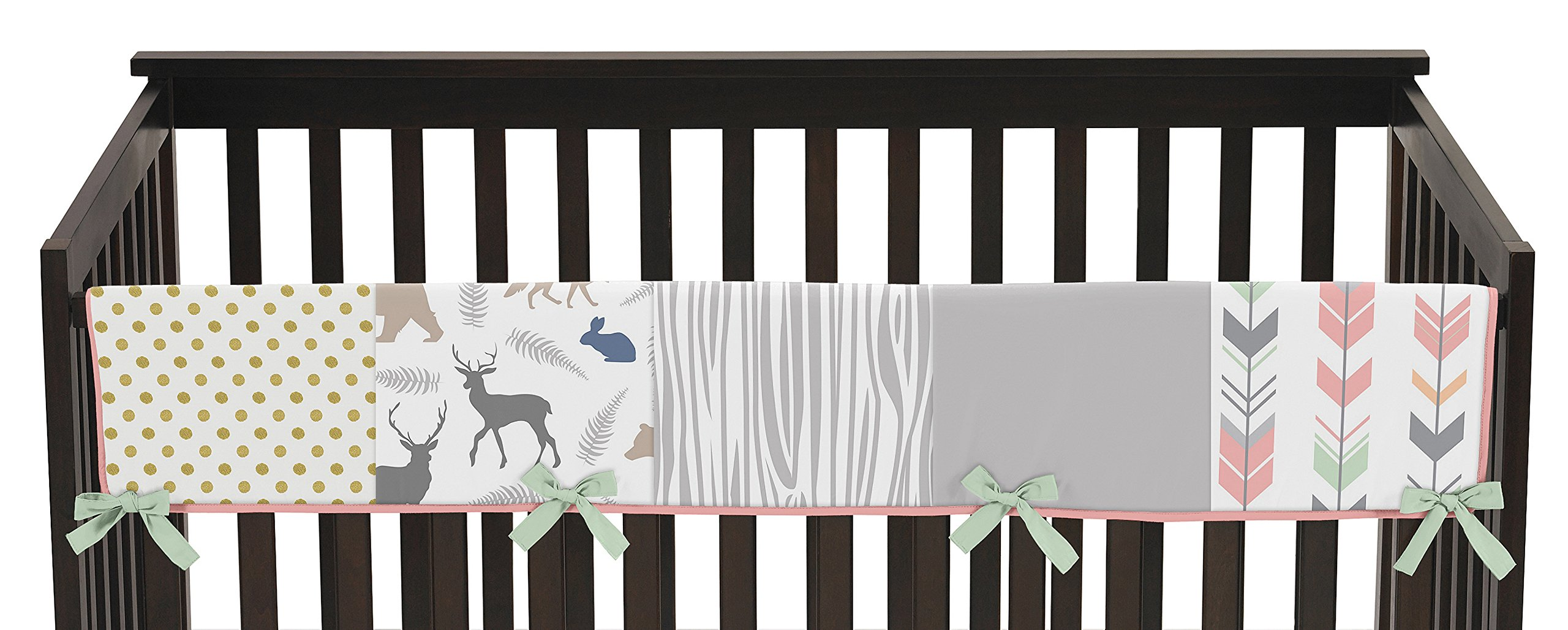 Sweet Jojo Designs Baby Crib Long Rail Guard Wrap Cover Teething Protector for Coral, Mint and Grey Woodsy Girl Bedding Collection