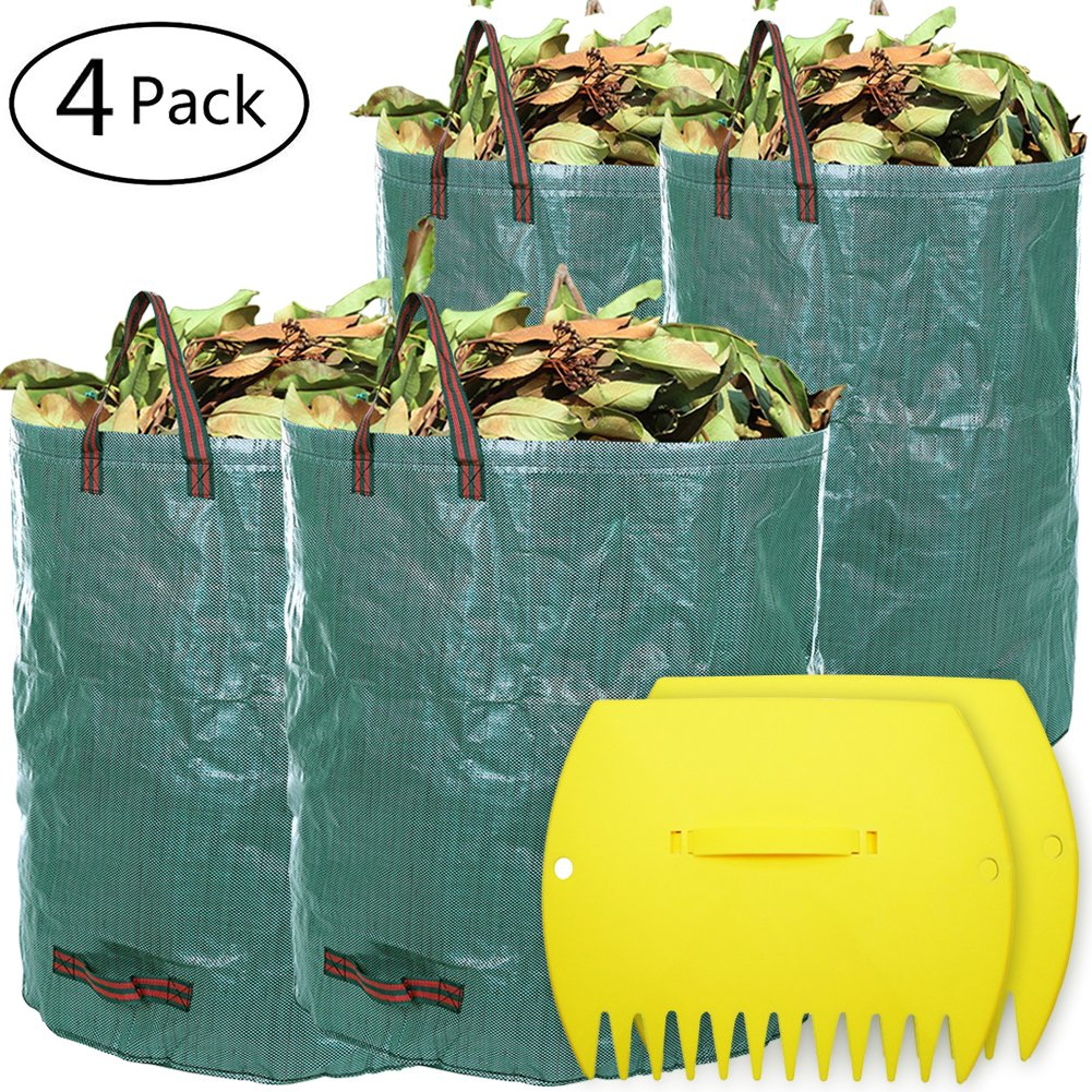 LIVEHITOP 4 PCS Garden Waste Bags with Leaf Scoops, Heavy Duty Waterproof Reusable Rubbish Sack Large Hand Rakes Collector for Leaves, Grass, Lawn (2 x 120L,2 x 272L)