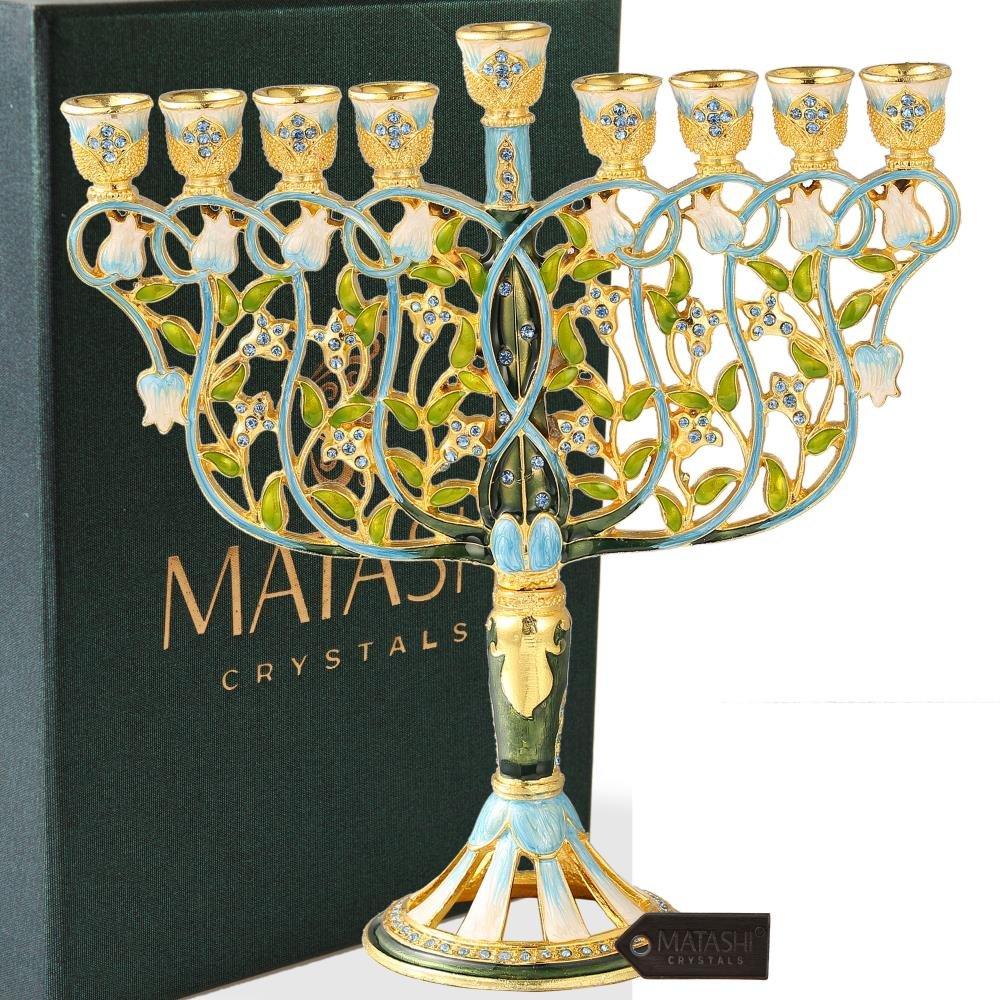 Matashi 7.5 Inch Tall Hand Painted Menorah Candelabra Embellished Blue Crystal
