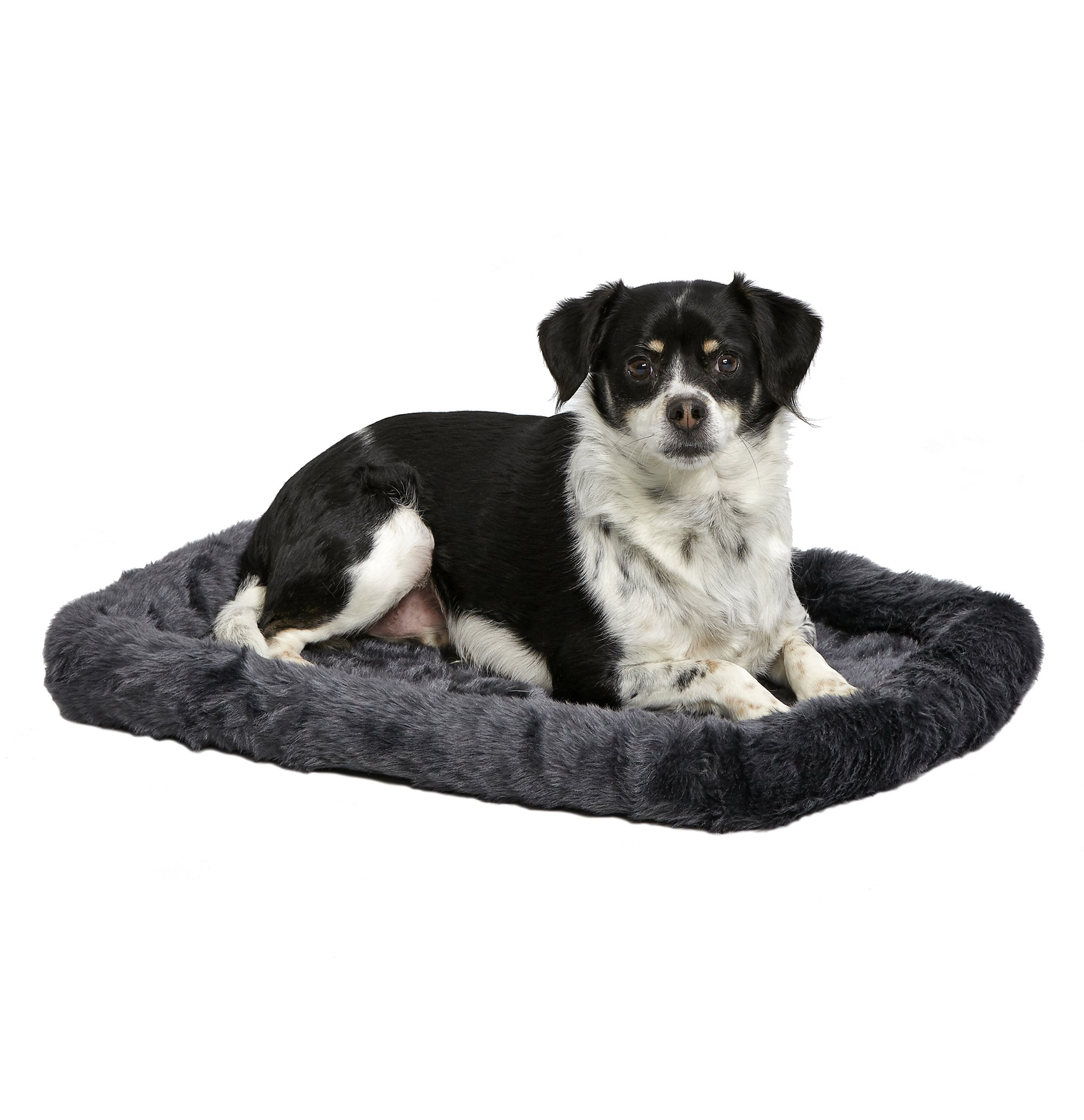 MidWest Deluxe Bolster Pet Bed for Dogs & Cats; Pet Bed Measures 24L x 18W x 2.25H Inches & Fits Standard 24'' L Wire Dog Crate, Gray