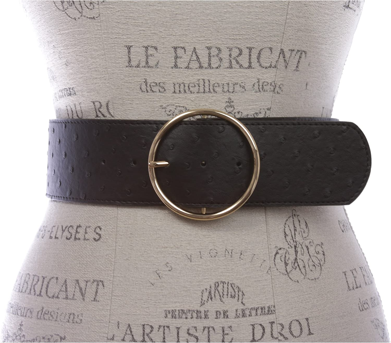 2 3//8 Wide Ostrich Print High Waist Fashion Stretch belt 60 mm