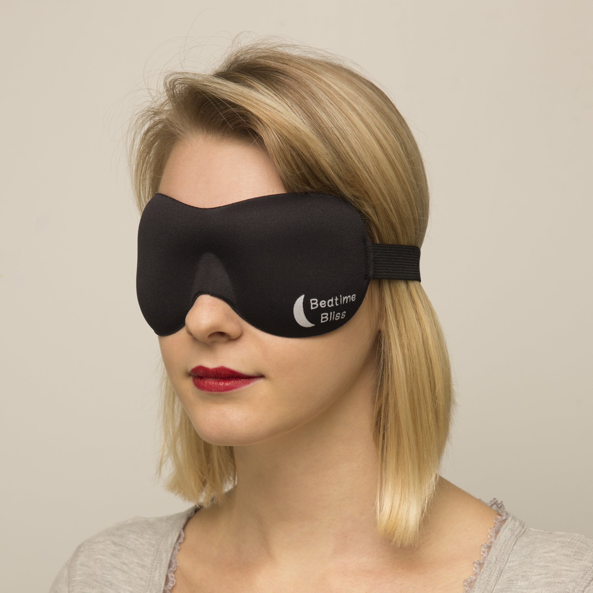 Sleep Mask by Bedtime Bliss® - Contoured & Comfortable With Moldex® Ear Plug Set. Includes Carry Pouch for Eye Mask and Ear Plugs - Great for Travel, Shift Work & Meditation (Black) by Bedtime Bliss (Image #4)