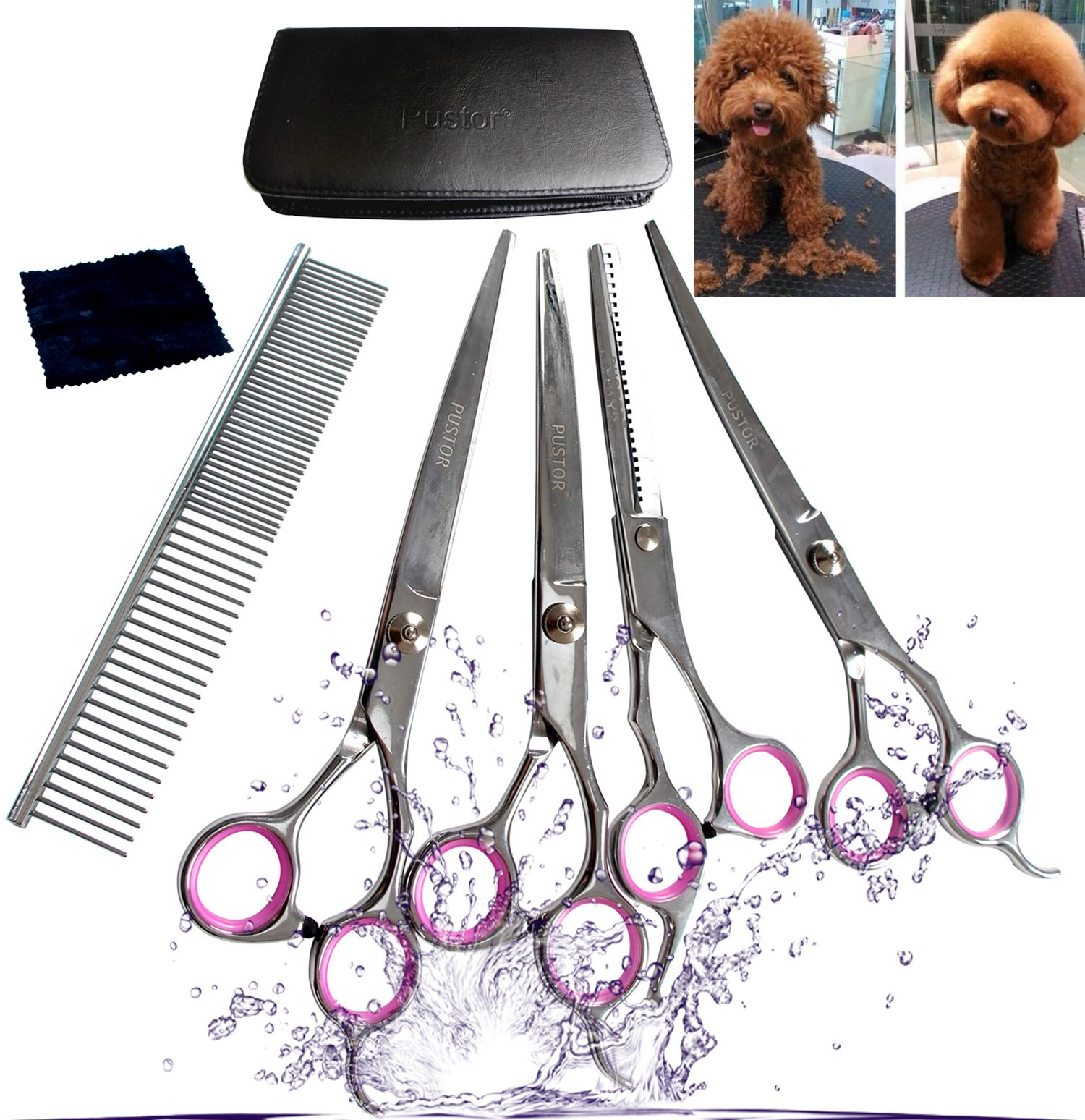 Pustor Dog Shears Stainless Steel Grooming Scissor kit Curved hair Professional Pet scissors and comb for Thinning,7.0 Inches