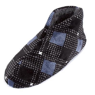 4ed302fa5526 Leisureland Men s Fleece Lined Bootie Slippers Plaid Pattern (L XL(11-13