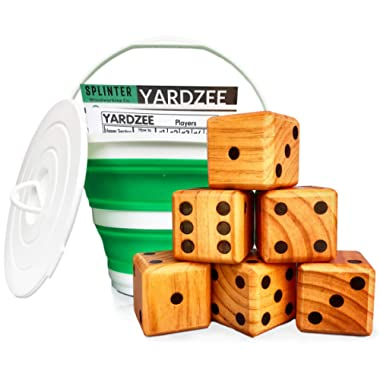 Splinter Woodworking Co Yardzee & Yard Farkle Giant Yard Dice Set (All Weather) with Collapsible Bucket and Lid, Big Laminated Score Cards & Dry Erase Marker | Backyard Lawn Game | Indoor | Outdoor
