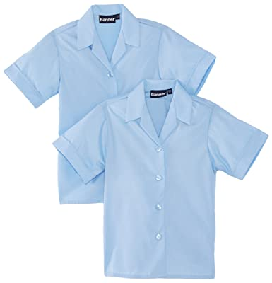 b904a596be2a1d Blue Max Banner Girl's Revere Twin Pack Short Sleeve School Blouse:  Amazon.co.uk: Clothing