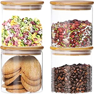 4 Pack Glass Jars with Airtight Bamboo Lids, (Dabacc) Glass Kitchen Canisters Clear Container for Food Storage of Dry Goods, Cookie, Candy, Spices, Coffee Beans and More, 18.6 OZ