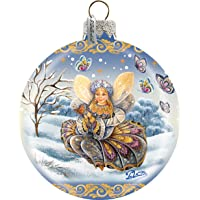 G. Debrekht Butterfly Fairy Ball Ornament, Hand-Painted Glass, 3-Inch, Includes Satin Ribbon for Hanging