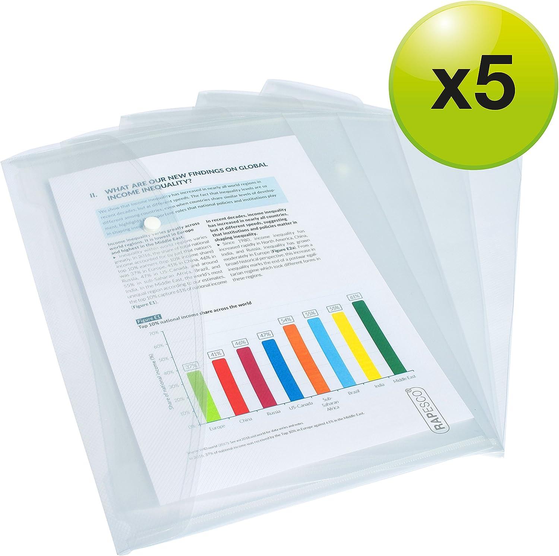Rapesco Documentos - Carpeta portafolios A4+ horizontal, transparente, 5 unidades