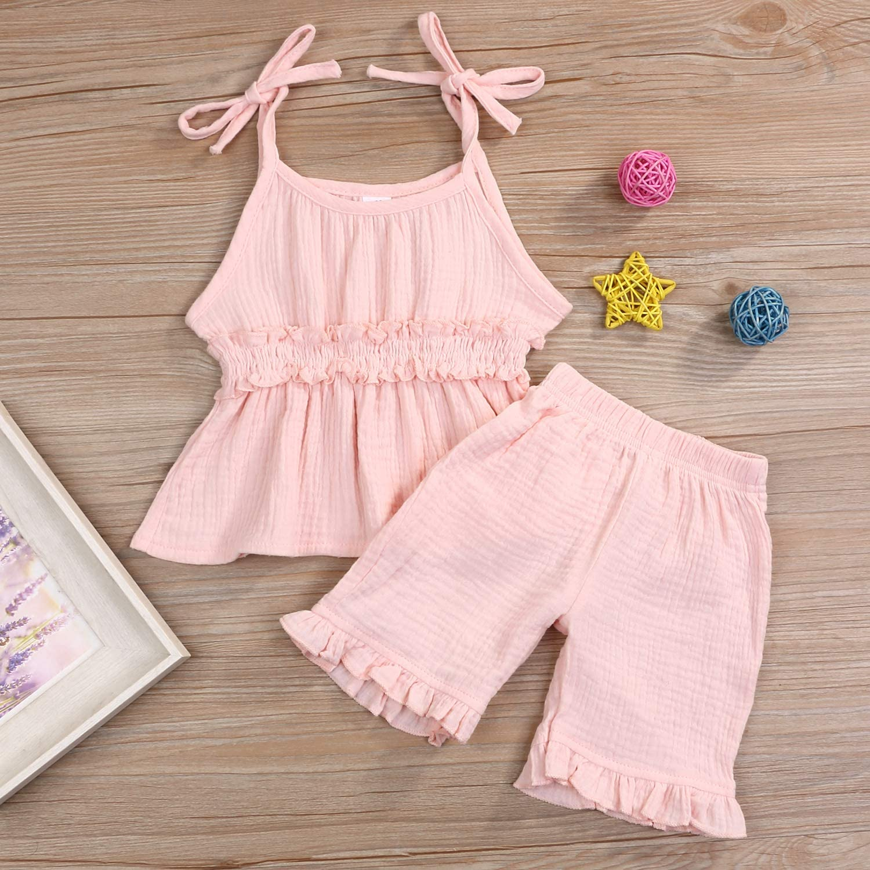 Pants Set Linen Outfits 2PCS Toddler Baby Girls Summer Short Set Clothes Ruffle Dress Top