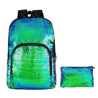 HeySun Flip Sequins Backpack Glitter Bookbag for Girls with Pencil Pouch(Teal/Black)