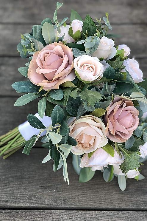 Amazon Com Champagne Taupe Blush Rose Silk Wedding Flowers Fake