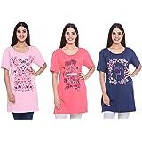 CUPID Women Plus Size Long Top & Tees/Night, Yoga, Gym Wear T-Shirt/Ladies Launge/Sleep Wear 3 Pc Combo Offer Pack